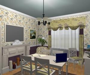 Dolgozó szoba virágos tapétával